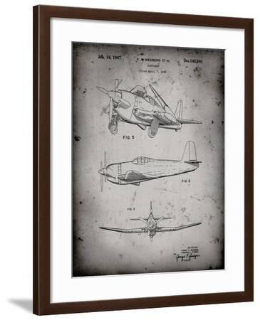PP82-Faded Grey Contra Propeller Low Wing Airplane Patent-Cole Borders-Framed Giclee Print