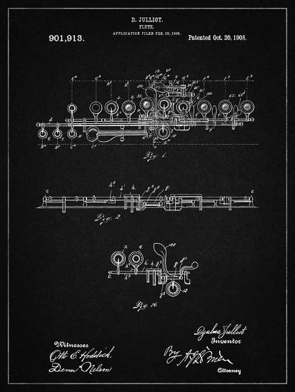 PP820-Vintage Black Flute 1908 Patent Poster-Cole Borders-Giclee Print