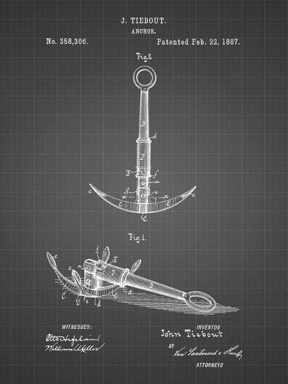 PP821-Black Grid Folding Grapnel Anchor Patent Poster-Cole Borders-Giclee Print