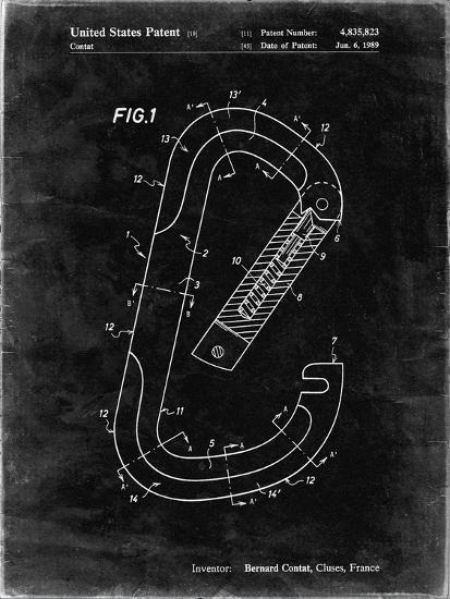 PP83-Black Grunge Oval Carabiner Patent Poster-Cole Borders-Giclee Print