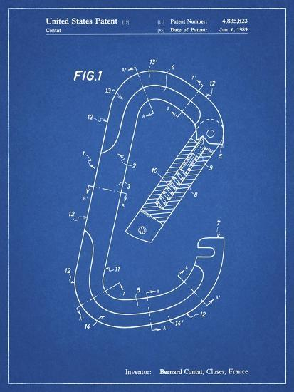 PP83-Blueprint Oval Carabiner Patent Poster-Cole Borders-Giclee Print