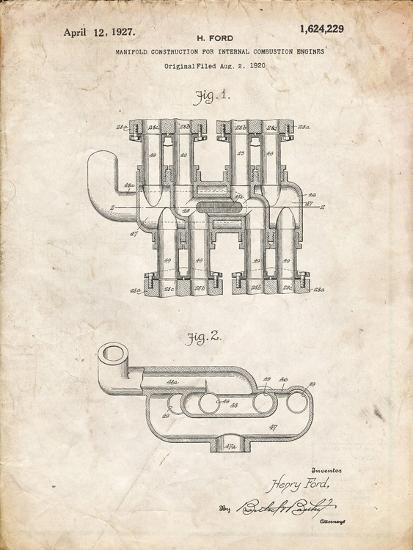 PP832-Vintage Parchment Ford Car Manifold 1920 Patent Poster-Cole Borders-Giclee Print