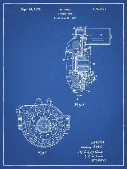PP833-Blueprint Ford Car Starter Gear 1928 Patent Poster-Cole Borders-Giclee Print
