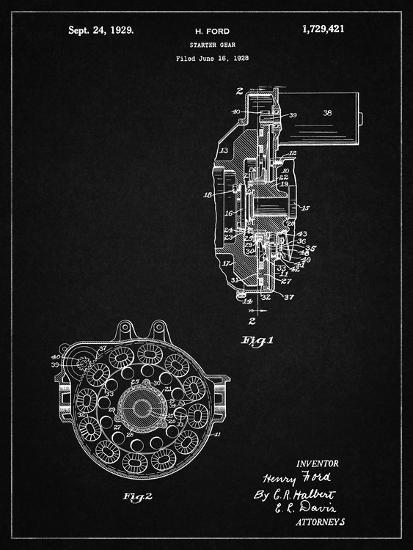 PP833-Vintage Black Ford Car Starter Gear 1928 Patent Poster-Cole Borders-Giclee Print