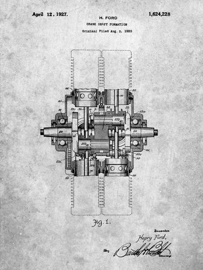 PP838-Slate Ford Crank Shaft 1920 Patent Poster-Cole Borders-Giclee Print