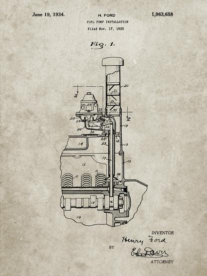 PP842-Sandstone Ford Fuel Pump 1933 Patent Poster-Cole Borders-Giclee Print