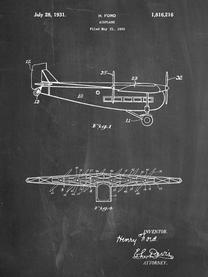 """PP849-Chalkboard Ford Tri-Motor Airplane """"The Tin Goose"""" Patent Poster-Cole Borders-Giclee Print"""