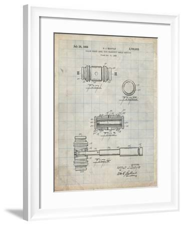PP85-Antique Grid Parchment Gavel 1953 Patent Poster-Cole Borders-Framed Giclee Print