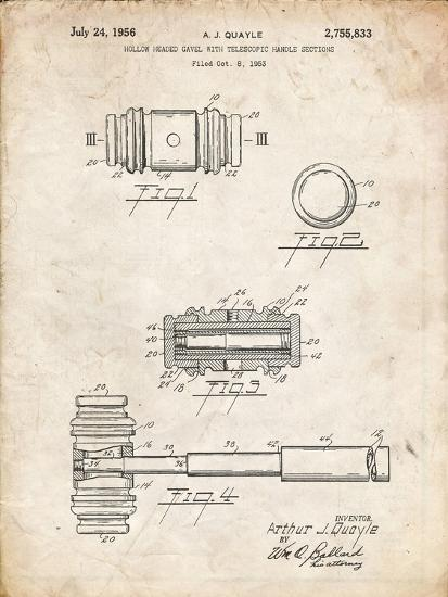 PP85-Vintage Parchment Gavel 1953 Patent Poster-Cole Borders-Giclee Print