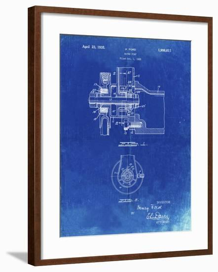 PP850-Faded Blueprint Ford Water Pump Patent Poster-Cole Borders-Framed Giclee Print