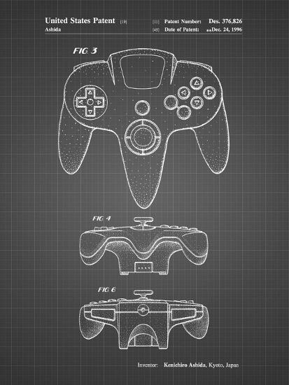 PP86-Black Grid Nintendo 64 Controller Patent Poster-Cole Borders-Giclee Print