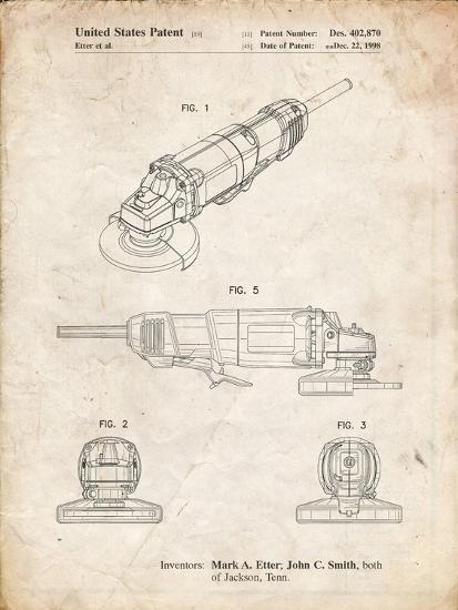 PP863-Vintage Parchment Grinder Poster, Grinder Patent-Cole Borders-Giclee Print