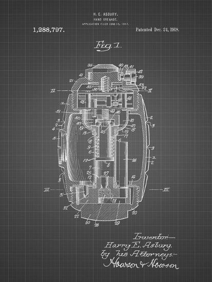 PP868-Black Grid Hand Grenade World War 1 Patent Poster-Cole Borders-Giclee Print
