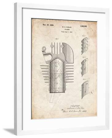 PP869-Vintage Parchment Harley Davidson Cylinder 1919 Patent Poster-Cole Borders-Framed Giclee Print