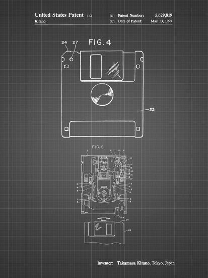 PP87-Black Grid 3 1/2 Inch Floppy Disk Patent Poster-Cole Borders-Giclee Print