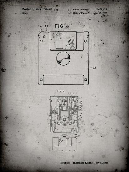 eac53e821 PP87-Faded Grey 3 1/2 Inch Floppy Disk Patent Poster Giclee Print by Cole  Borders | Art.com