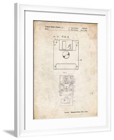 PP87-Vintage Parchment 3 1/2 Inch Floppy Disk Patent Poster-Cole Borders-Framed Giclee Print
