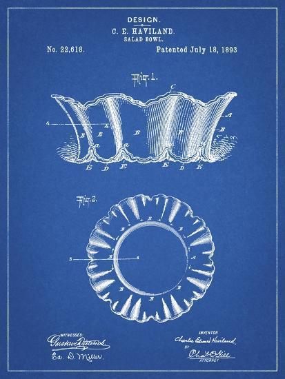 PP874-Blueprint Haviland Salad Bowl 1893 Patent Poster-Cole Borders-Giclee Print