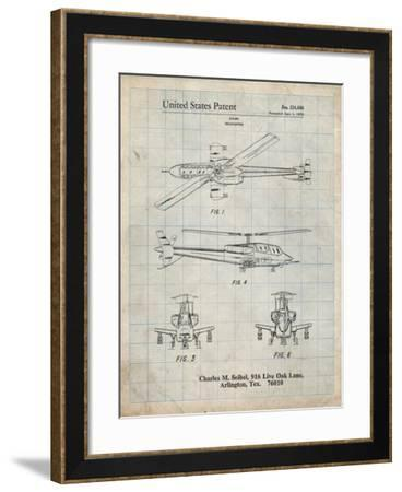 PP876-Antique Grid Parchment Helicopter Patent Print-Cole Borders-Framed Giclee Print