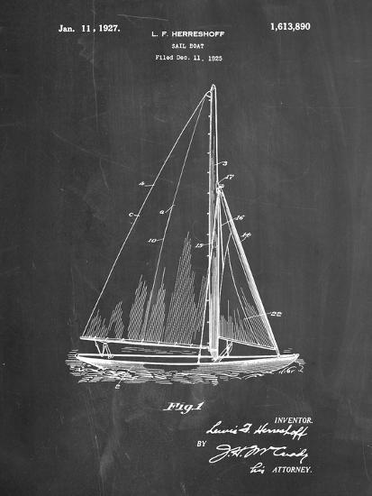 PP878-Chalkboard Herreshoff R 40' Gamecock Racing Sailboat Patent Poster-Cole Borders-Giclee Print