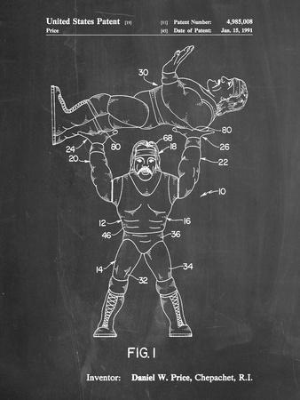 PP885-Chalkboard Hulk Hogan Wrestling Action Figure Patent Poster-Cole Borders-Framed Giclee Print