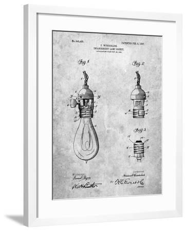 PP890-Slate Incandescent Lamp Socket Patent Poster-Cole Borders-Framed Giclee Print