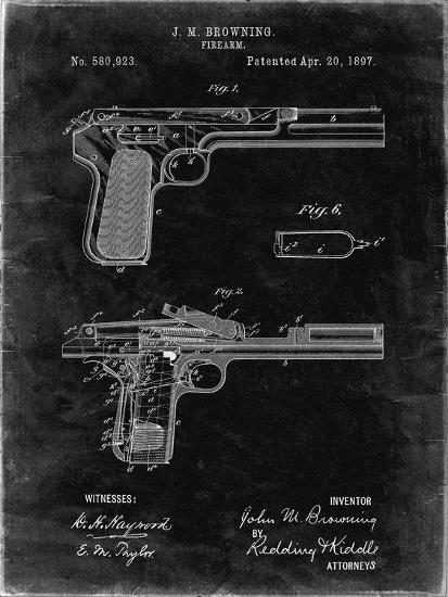 PP894-Black Grunge J.M. Browning Pistol Patent Poster-Cole Borders-Giclee Print