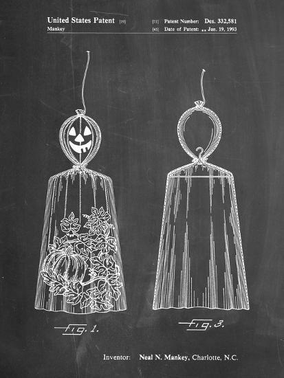 PP895-Chalkboard Jack O'Lantern Patent Poster-Cole Borders-Giclee Print
