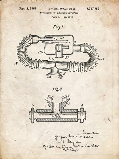 PP896-Vintage Parchment Jacques Cousteau Diving Mouthpiece Patent Poster-Cole Borders-Giclee Print
