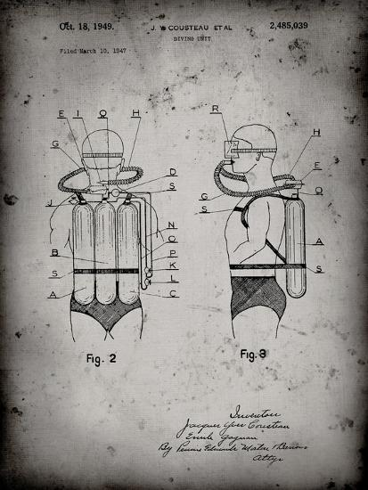 PP897-Faded Grey Jacques Cousteau Diving Suit Patent Poster-Cole Borders-Giclee Print
