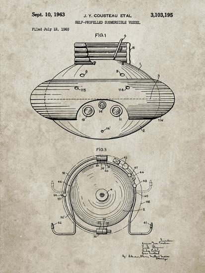 PP898-Sandstone Jacques Cousteau Submersible Vessel Patent Poster-Cole Borders-Giclee Print