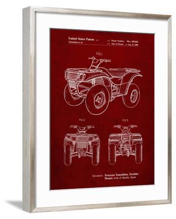 PP902-Burgundy Kawasaki Prairie Patent Poster-Cole Borders-Framed Giclee Print