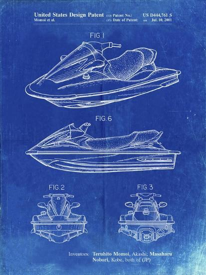 PP903-Faded Blueprint Kawasaki Water Scooter Patent-Cole Borders-Giclee Print