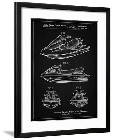 PP903-Vintage Black Kawasaki Water Scooter Patent-Cole Borders-Framed Giclee Print