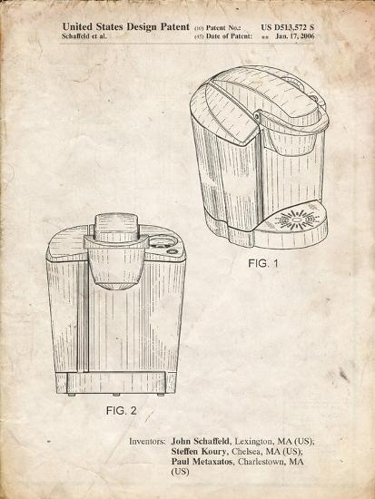 PP905-Vintage Parchment Keurig Coffee Brewer Patent Poster-Cole Borders-Giclee Print