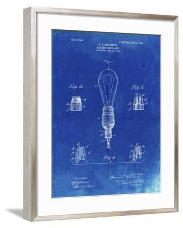 PP917-Faded Blueprint Large Filament Light Bulb Patent Poster-Cole Borders-Framed Giclee Print