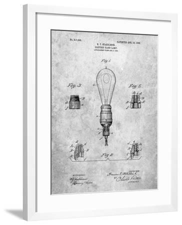 PP917-Slate Large Filament Light Bulb Patent Poster-Cole Borders-Framed Giclee Print