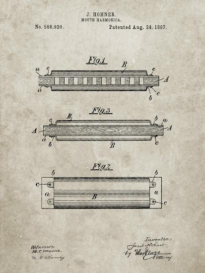 PP94-Sandstone Hohner Harmonica Patent Poster-Cole Borders-Giclee Print