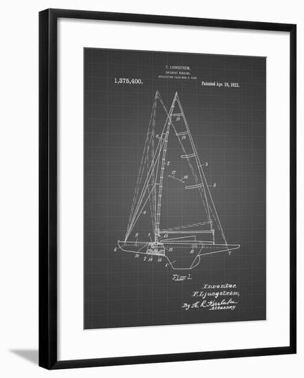 PP942-Black Grid Ljungstrom Sailboat Rigging Patent Poster-Cole Borders-Framed Giclee Print