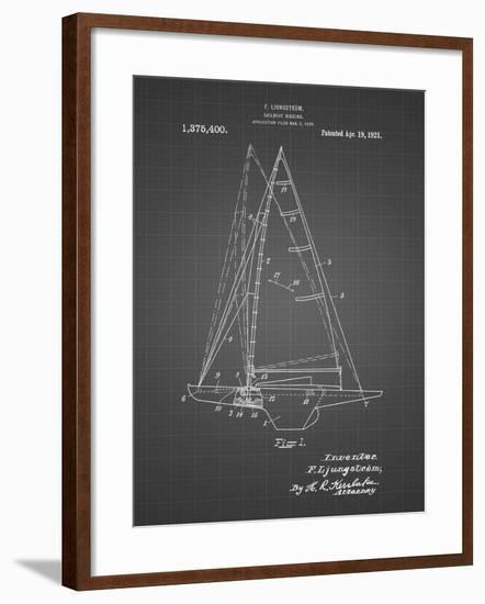 PP942-Black Grid Ljungstrom Sailboat Rigging Patent Poster-Cole Borders-Framed Giclee Print
