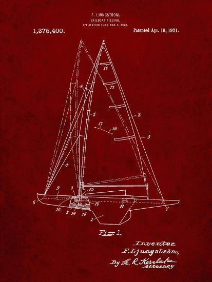 PP942-Burgundy Ljungstrom Sailboat Rigging Patent Poster-Cole Borders-Giclee Print