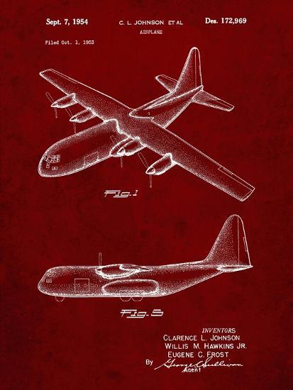 PP943-Burgundy Lockheed C-130 Hercules Airplane Patent Poster-Cole Borders-Giclee Print