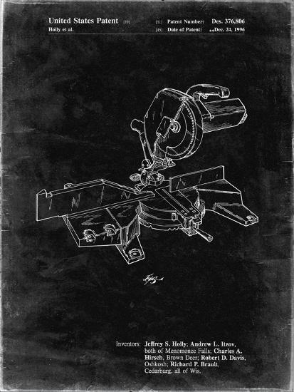 PP956-Black Grunge Milwaukee Compound Miter Saw Patent Poster-Cole Borders-Giclee Print