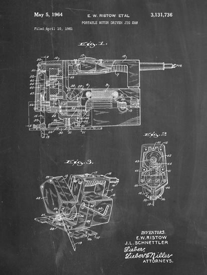 PP957-Chalkboard Milwaukee Portable Jig Saw Patent Poster-Cole Borders-Giclee Print