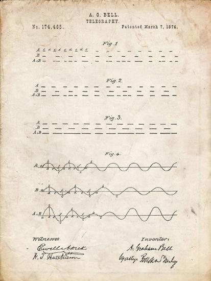 PP962-Vintage Parchment Morse Code Patent Poster-Cole Borders-Giclee Print