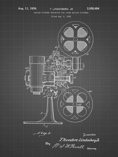 PP966-Black Grid Movie Projector 1933 Patent Poster-Cole Borders-Giclee Print