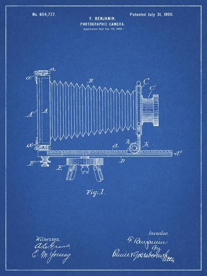 PP985-Blueprint Photographic Camera Patent Poster-Cole Borders-Giclee Print