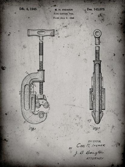 PP986-Faded Grey Pipe Cutting Tool Patent Poster-Cole Borders-Giclee Print
