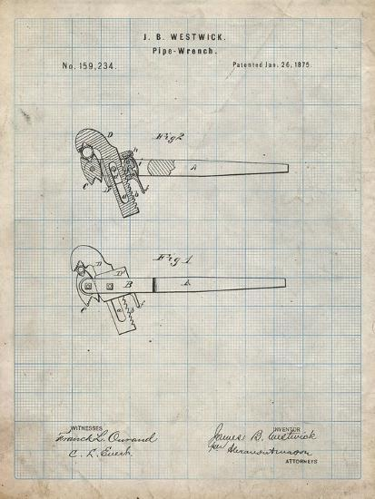 PP987-Antique Grid Parchment Pipe Wrench Patent Wall Art Poster-Cole Borders-Giclee Print