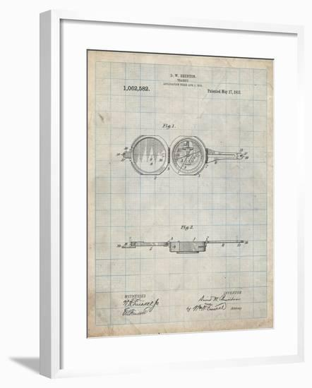 PP992-Antique Grid Parchment Pocket Transit Compass 1919 Patent Poster-Cole Borders-Framed Giclee Print